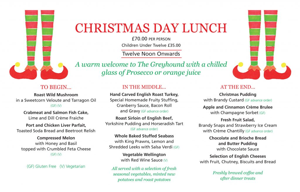 Christmas Day Lunch Menu 2019 Greyhound Coaching Inn Lutterworth