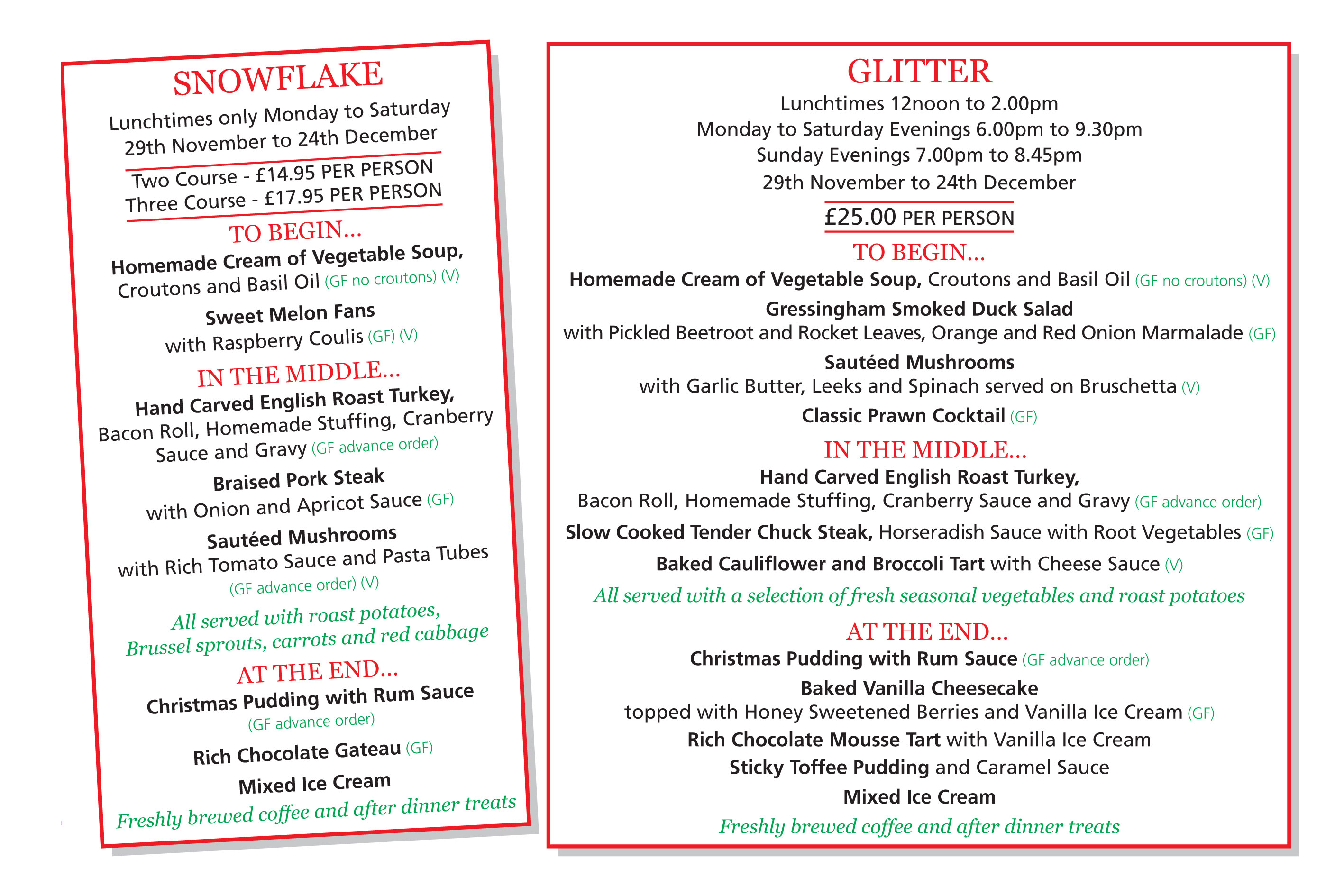 Christmas Snowflake and Christmas Glitter Party Menus, Greyhound Coaching Inn Lutterworth