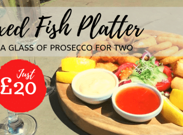 Mixed fish platter and a glass of prosecco for two £20